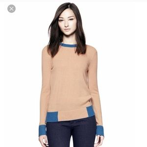 Tory Burch Mandy Sweater tan & blue women's large